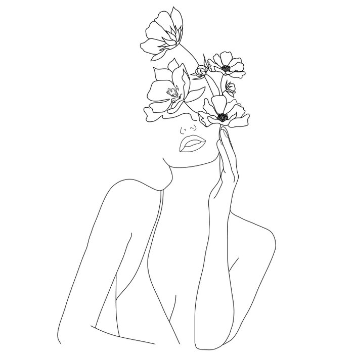 Minimal Line Art Woman with Flowers Duvet Cover
