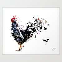 chicken Art Prints featuring Chicken by Monika T