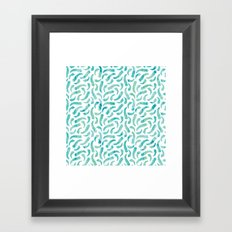 Green Watercolor Feathers Framed Art Print