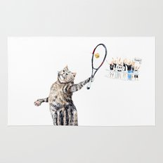 Cat Playing Tennis Rug