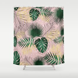 Modern gold tropical leaves and doddles design Shower Curtain