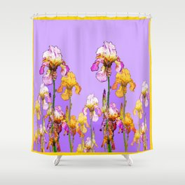 LILAC PURPLE-GOLD IRIS GARDEN PURPLE ART Shower Curtain