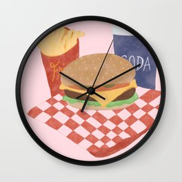 Burgers and Fries? Yes Plz. Wall Clock