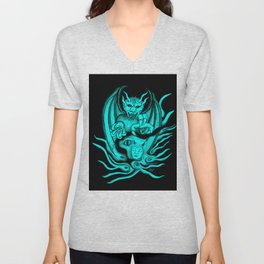 Midnight Dream , Black and Green Design Unisex V-Neck