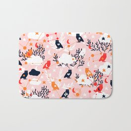 Cute Owl and Constellations Bath Mat