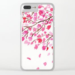 Rain of Cherry Blossom Clear iPhone Case