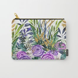 Gold Glitter Purple Garden Carry-All Pouch