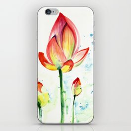 LOTUS FLOWER WITH BUDS Watercolor iPhone Skin