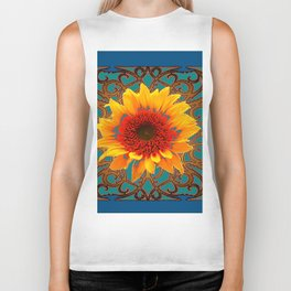 Teal Red Golden Sunflowers Yellow Pattern Art Biker Tank