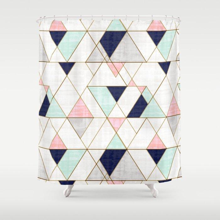 Mod Triangles - Navy Blush Mint Duschvorhang