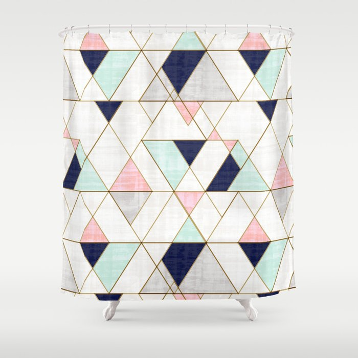 Mod Triangles - Navy Blush Mint Shower Curtain