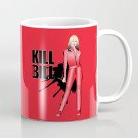 kill bill Mugs featuring Kill Vampire Bill (Red Version) by AriesNamarie