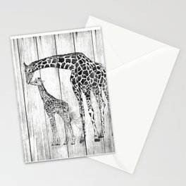 Giraffes family, animals, Giraffes, Black and White Art, Nursery, Wall decor, Home decor Stationery Cards