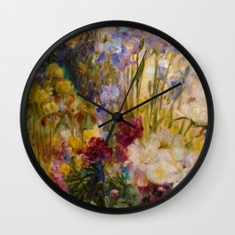 Classical Masterpiece 'Peonies and Iris' by Louis Comfort Tiffany Wall Clock