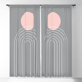 Mid Century Modern Geometric 76 in Ultimate Grey and Rose Gold (Sun and Rainbow abstraction) Blackout Curtain