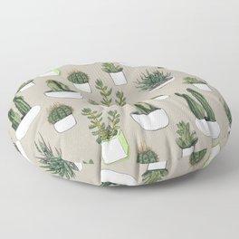 Watercolour cacti & succulents - Beige Floor Pillow