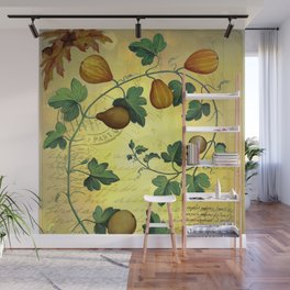 Vintage Botanical Collage, Autumn Pumpkins Wall Mural