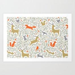 Woodland Animals Folk Art Print