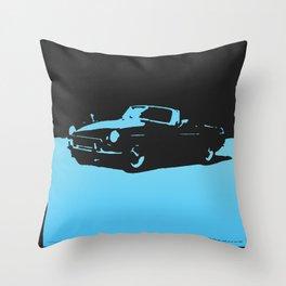MGB, Light Blue on Black Throw Pillow