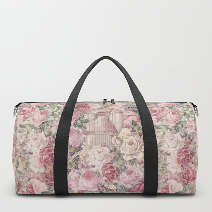 Romantic Flower Pattern And Birdcage Duffle Bag