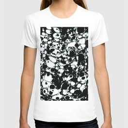 Black and White ink paint spill graphic mint green lines T-shirt