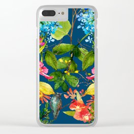 Watercolor flower garden with hummingbird Clear iPhone Case