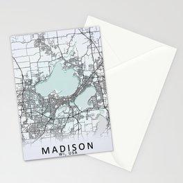 Madison, WI, USA, White, City, Map Stationery Cards