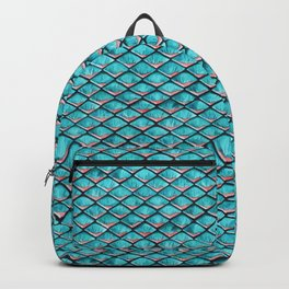 Teal blue and coral pink arapaima mermaid scales Backpack