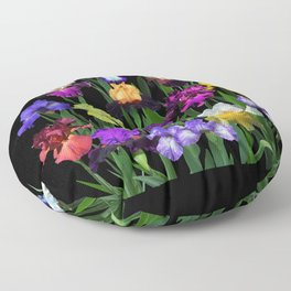 Iris Garden - on black Floor Pillow