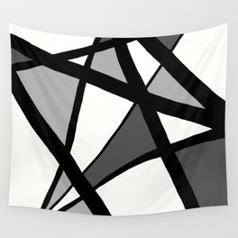 Geometric Line Abstract - Black Gray White Wall Tapestry