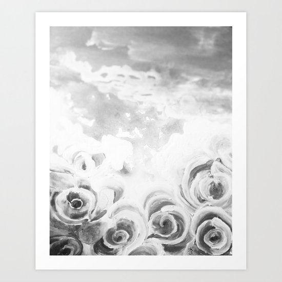 Fading Roses Silver Lining Art Print