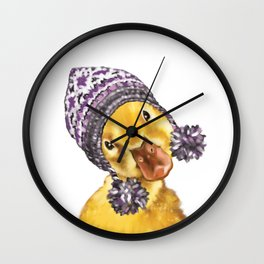 Baby Yellow Duck with Winter Hat Wall Clock