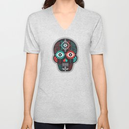 Día de Muertos Calavera • Mexican Sugar Skull – Black & Turquoise on Red Starburst Unisex V-Neck