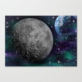 The Moon and Earth Canvas Print