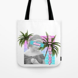 Alone Vaporwave Statue Meme Gift. Anti-Social Japanese Text  design Tote Bag