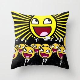 Awesome Smiley Faces Yellow Emoticon                                      Throw Pillow