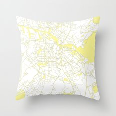 Amsterdam White on Yellow Map Throw Pillow