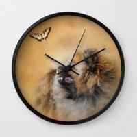 pomeranian Wall Clocks featuring Butterfly Dreams - Pomeranian by Jai Johnson