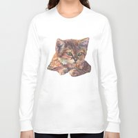meow Long Sleeve T-shirts featuring Meow by Emma Reznikova
