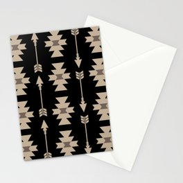 Southwestern Arrow Pattern 233 Black and Beige Stationery Cards