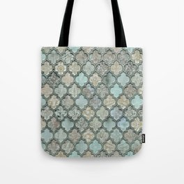 Old Moroccan Tiles Pattern Teal Beige Distressed Style Tote Bag