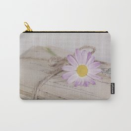 Shabby Chic Old Letters And Daisy Carry-All Pouch