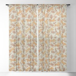 Vintage Golden Tigers Pattern / Big Cats, Leaves, Nature Sheer Curtain