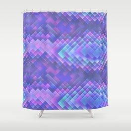 Indigo Violet Bright Squares Pattern Shower Curtain