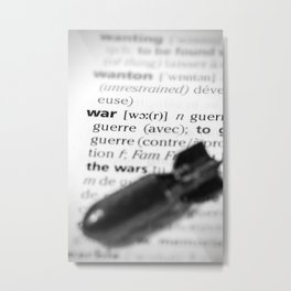 War word definition text with bomb concept Metal Print