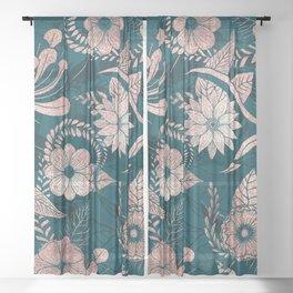 Artsy Modern Rose Gold Emerald Green Flowers Sheer Curtain