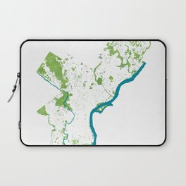 Philadelphia Map - Green Spaces Philly Parks Laptop Sleeve