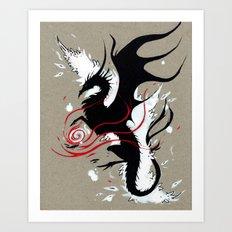 BLACK DRAGON RIBBONS Art Print
