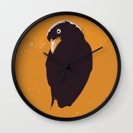 Raven in yellow and black art print Wall Clock