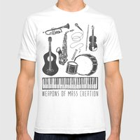 Weapons Of Mass Creation - Music (on paper) White SMALL Mens Fitted Tee